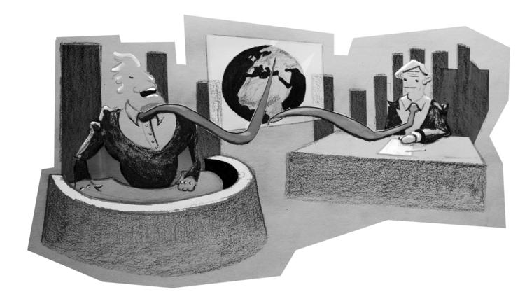 Parody news - illustration, talkshow - zeptilian | ello