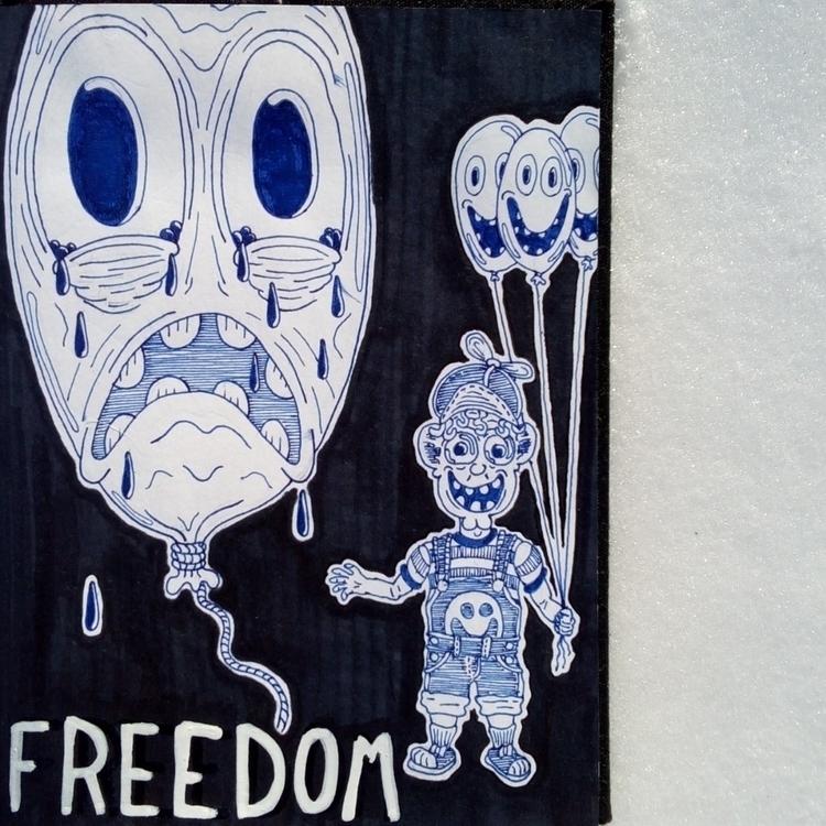 Freedom - art, drawing, ink, blue - larryfishmas | ello