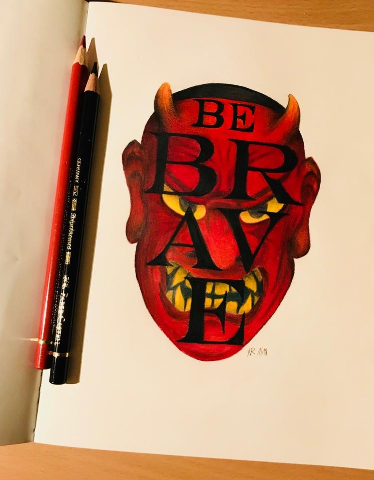 BRAVE face Demon! Polychromos p - kenazmedia | ello