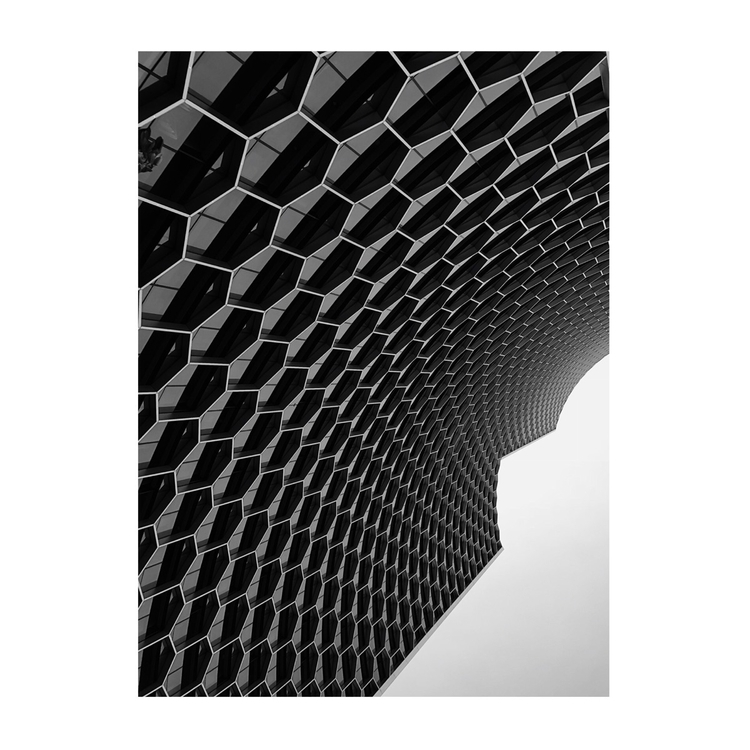 Hexagon curve - architecture, bw - bady_qb | ello