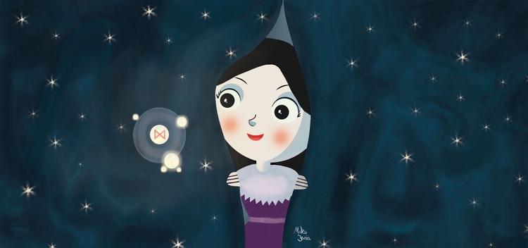 curtain night - illustration, photoshopart - maksmj | ello