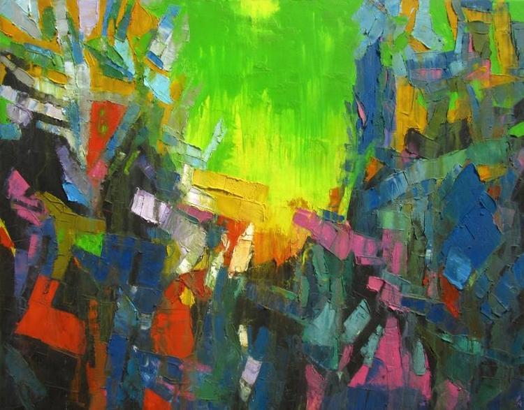 Green Sky Painting | Size: 48 6 - abhishekkumarartist | ello