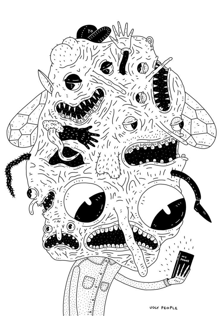 selfie, iamuglypeople, illustration - iamuglypeople | ello