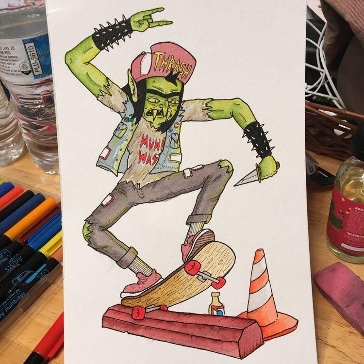 Skateboarding Goblin 5.5x8.5 wa - duhstee_parker | ello