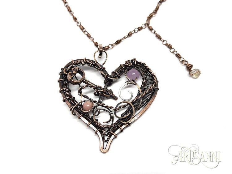 Heart Pendant Key, Jade Rhodoni - artisanni | ello