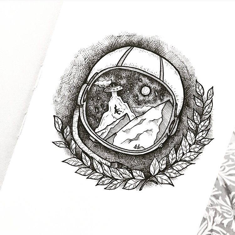 space, helmet, outerspace, tattoo - mira_kss | ello