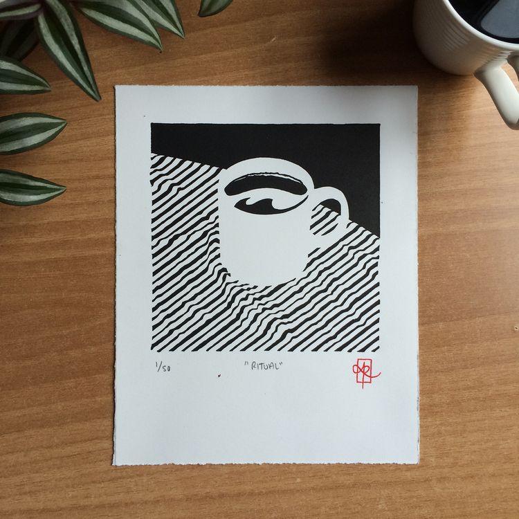 "Ritual"", 1-colour, 8 10 linocut - monografik   ello"