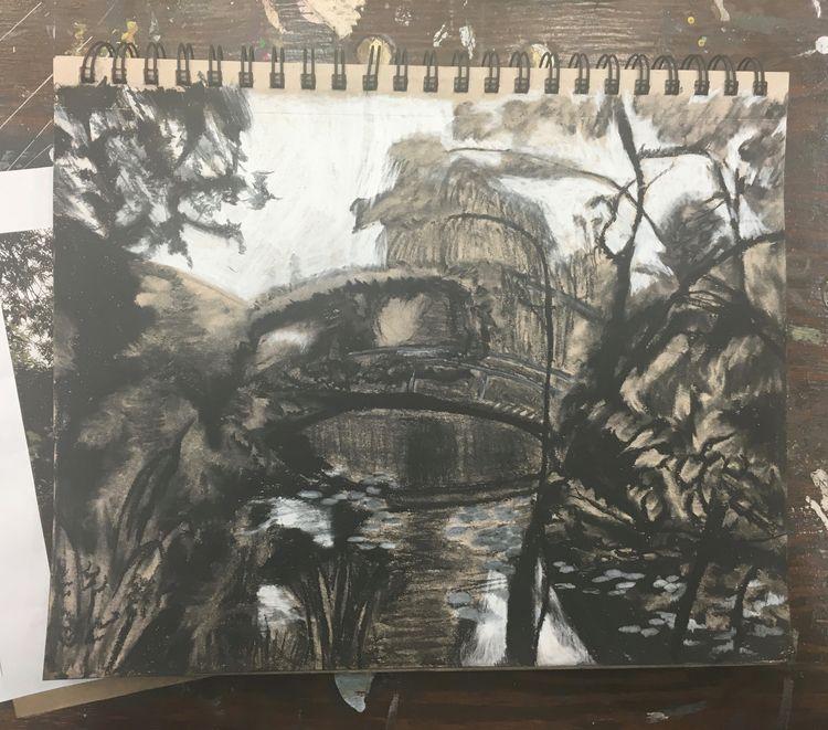 landscape, charcoal, monet, practice - leneshmarie | ello