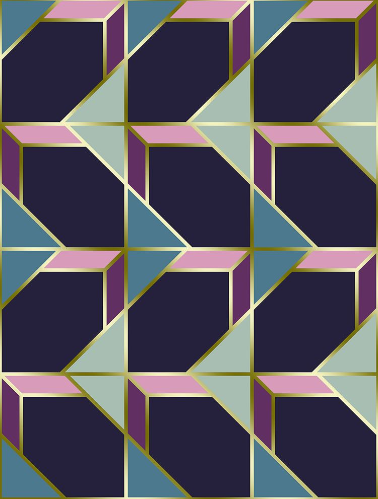 Ultra Deco 3 violet geometric c - designdn | ello