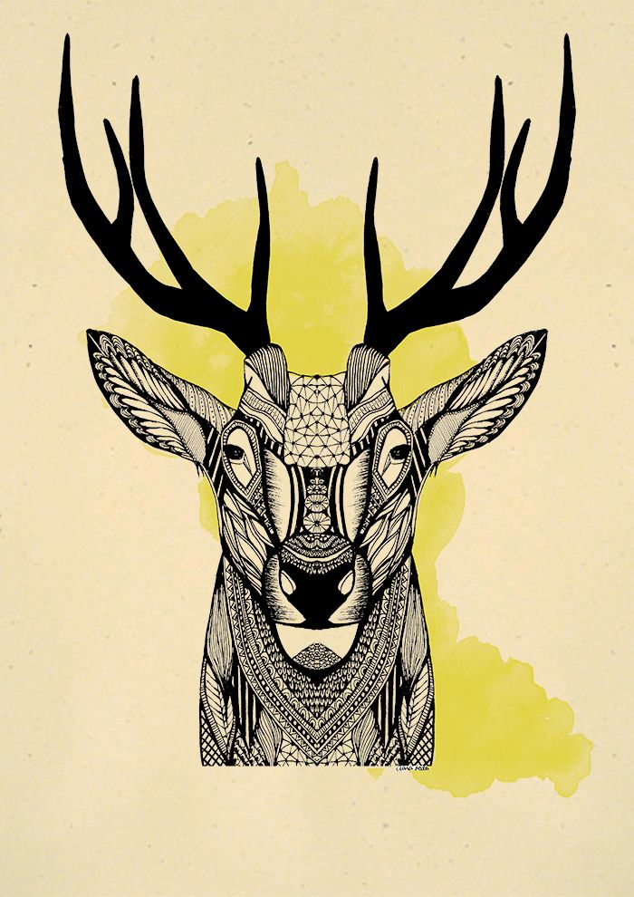 `Geometric deer´ - illustration - claraledo | ello