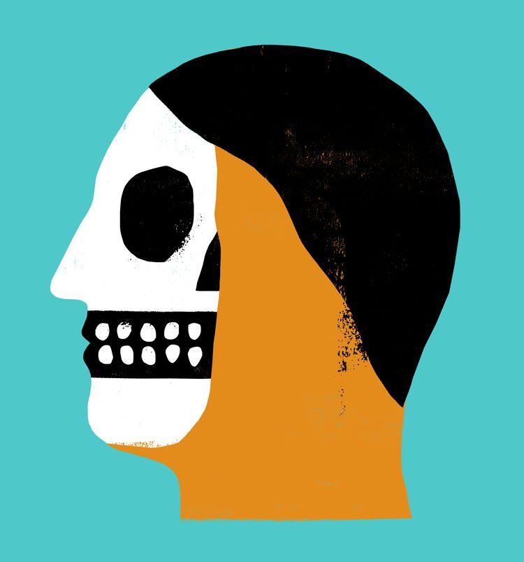 Watching - skull, dead, portrait - grossillustration | ello