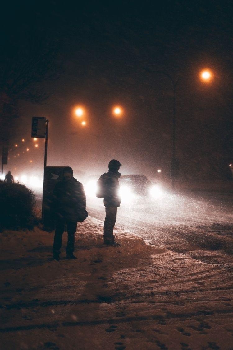Snowy night - montreal, streetphotography - hawjinjami | ello