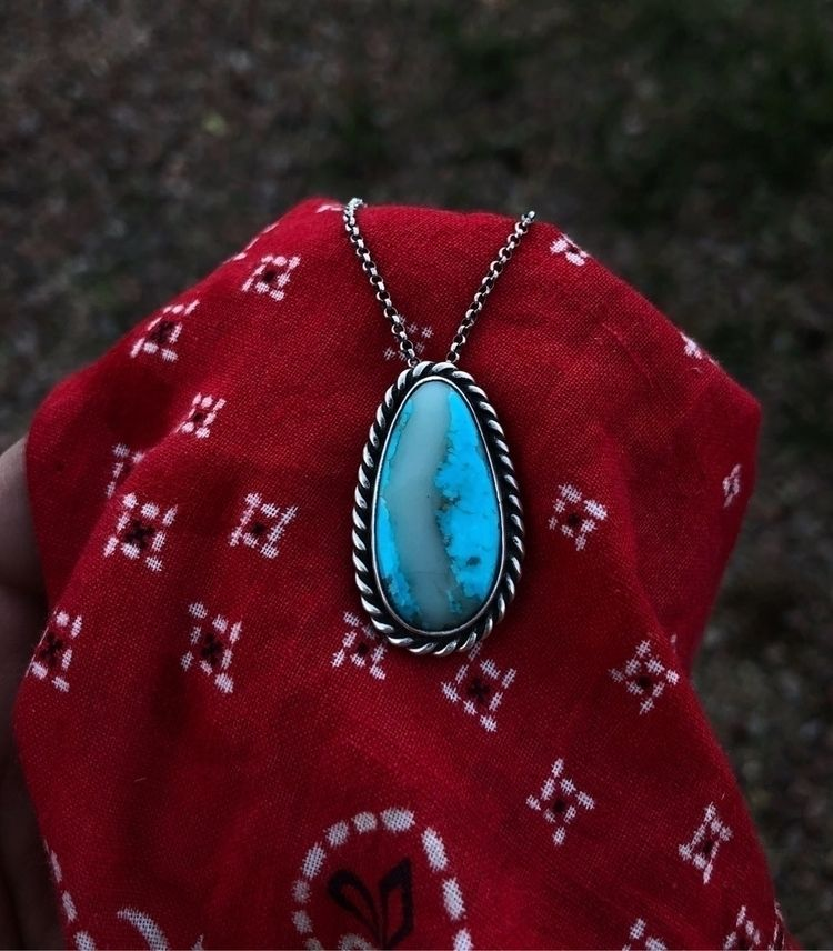 finished Kingman turquoise neck - wellssilversmithing | ello
