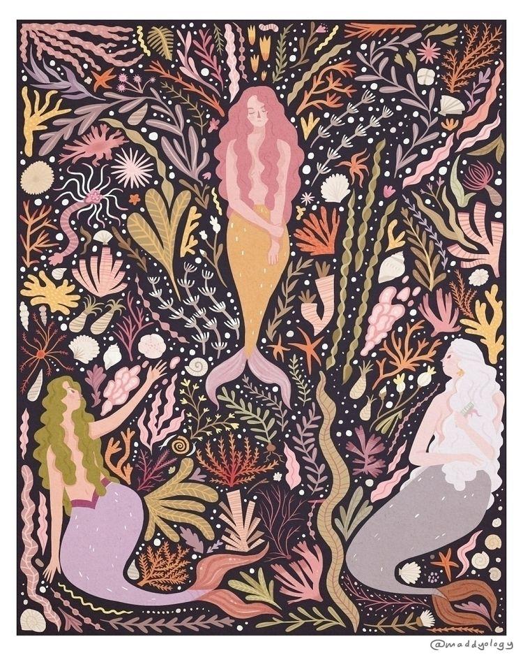 image print inspired 60s Mermai - maddyvianillustration | ello
