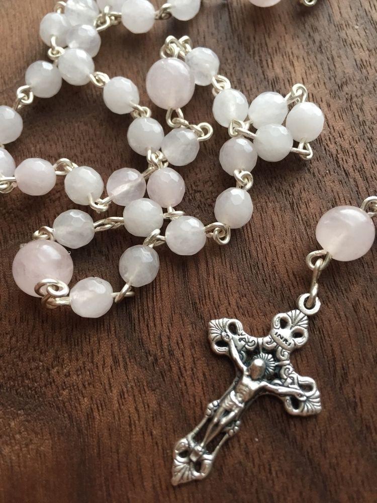 soft pretty rose quartz rosary  - librasgarden | ello