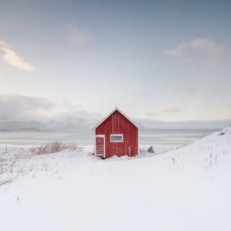red hut - lofoten, norway, landscape - schieflicht | ello