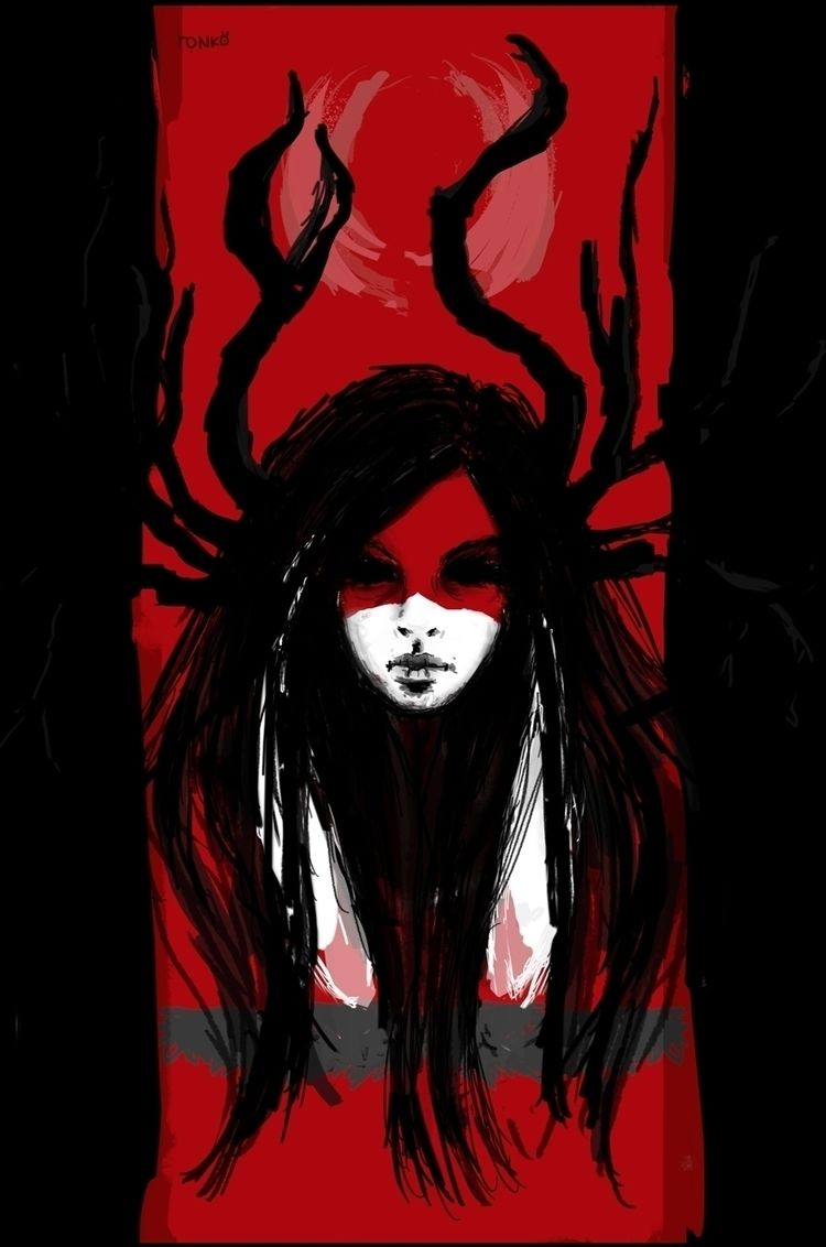 forest, girl, spirit, illustration - roni-veronica | ello