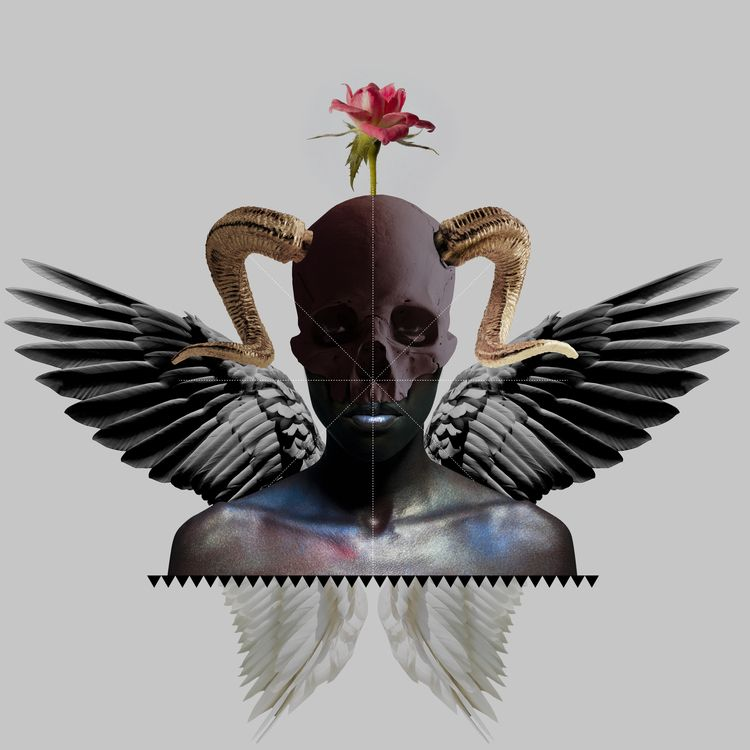 skull, flower, wings, fallen - unloved_one | ello