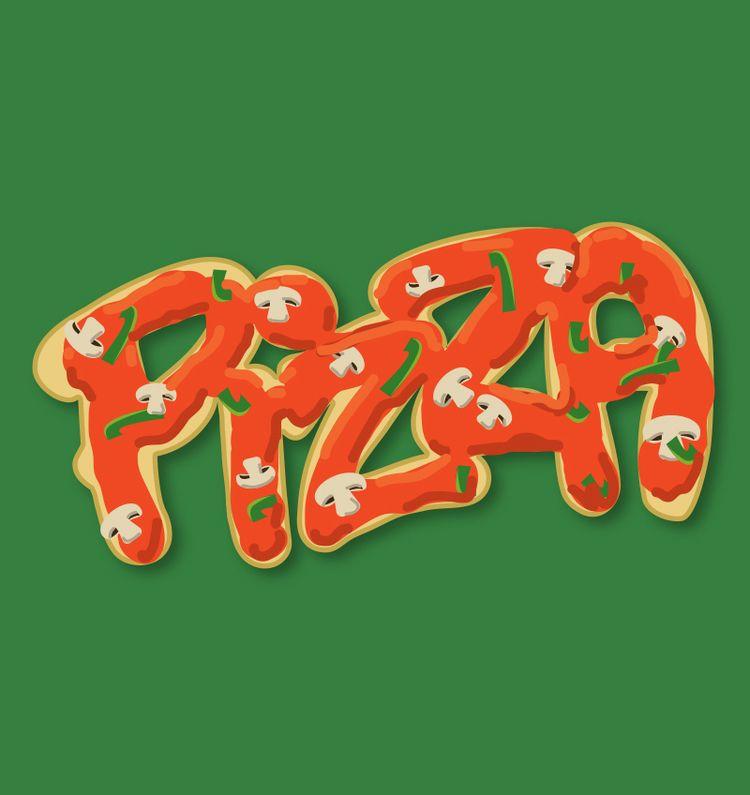 food illustration Pizza - lettering - judithmayer | ello