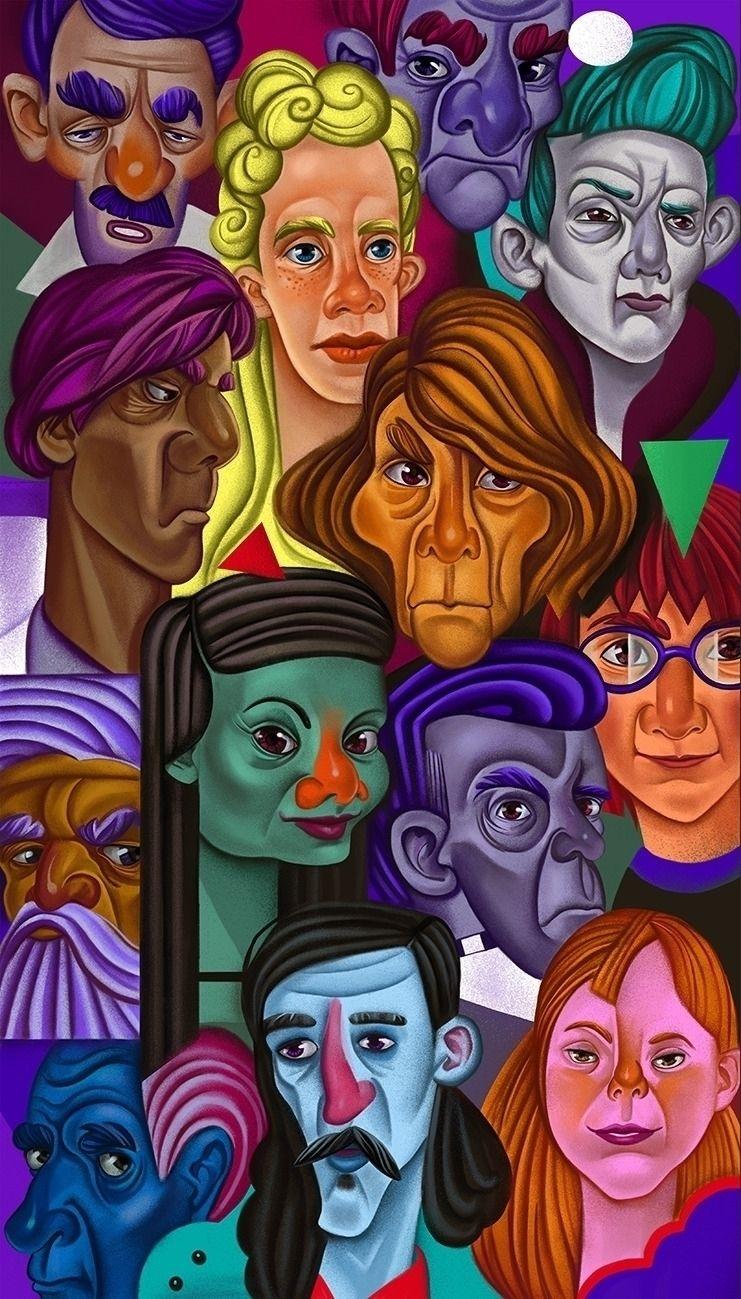 Faces pattern - illustration, portrait - shustinakatya | ello