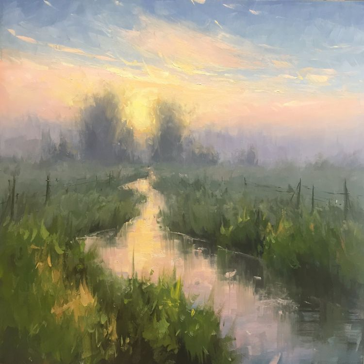 Daybreak - Oil Panel, 24x24 - staceypetersonfineart | ello