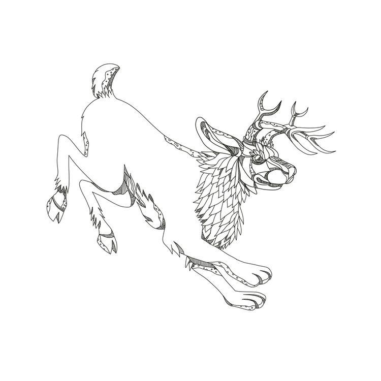 Jackalope Hopping Doodle Art - illustration - patrimonio | ello