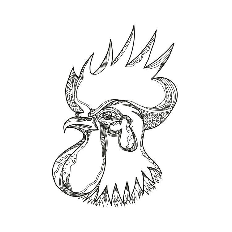 Junglefowl Head Doodle Art - JunglefowlHead - patrimonio   ello