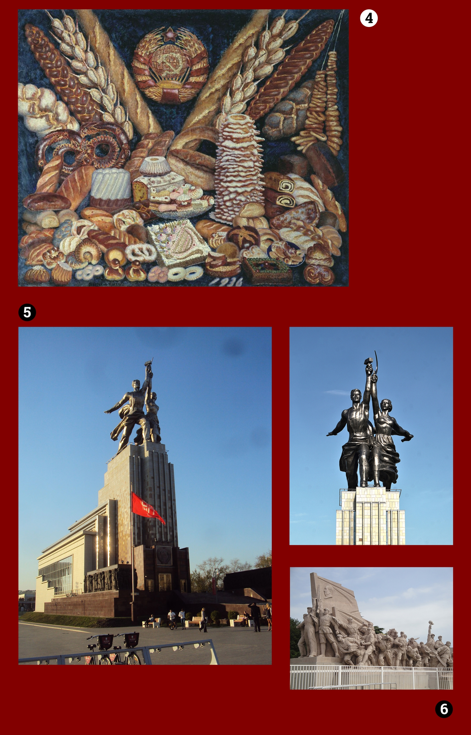 Obraz przedstawia cztery fotografie, widzimy obraz i trzy zdjęcia budowli, całość na bordowym tle.