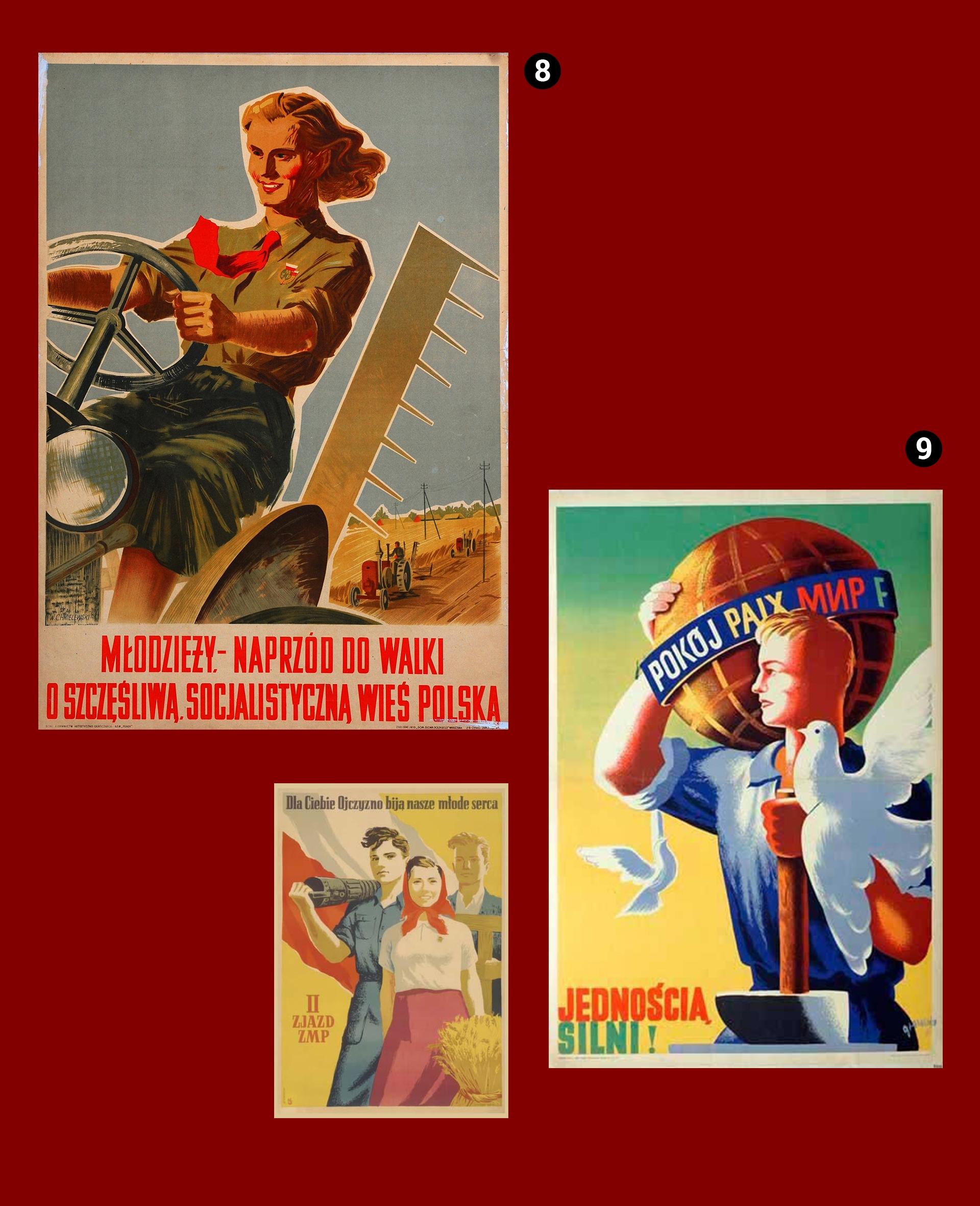 Obraz przedstawia trzy plakaty propagandowe na bordowym tle.
