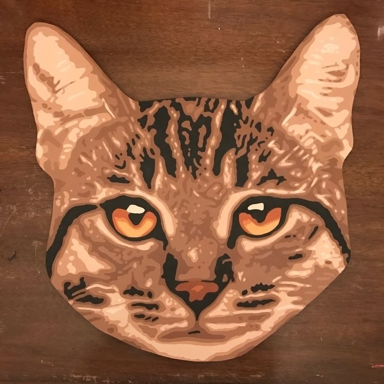 painting - cat, acrylic, vector - floposaurus | ello