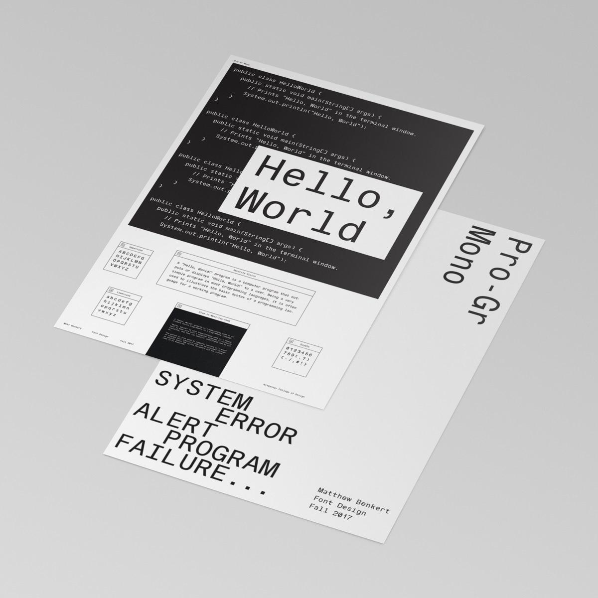 Pro-Gr Mono Font Design + Poste - mattbenkert | ello
