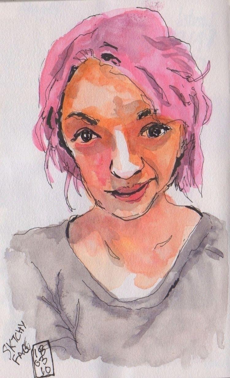 Practicing watercolor - portrait - toddpop1   ello