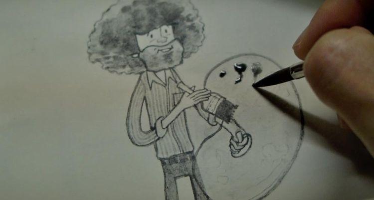 love Bob Ross... Taught work  - watercolour - catsac | ello