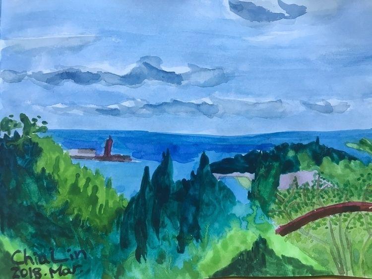 遠眺 - watercolor, watercolour, landscape - yangchialin | ello