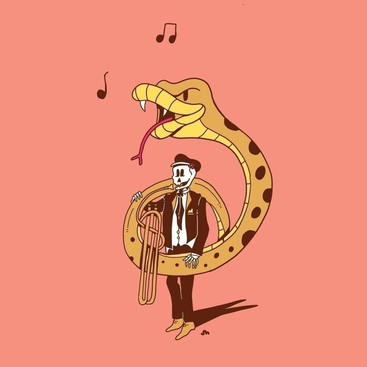 Ssssweet Tune - tuba, cartoon, illustration - jessienewhouse | ello