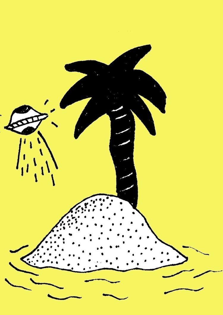 illustration, island, ufo, yellow - lazybastard | ello