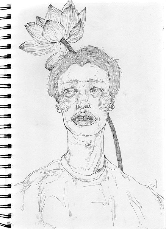 art, drawing, flower, lotus, hyuk - linsshit | ello