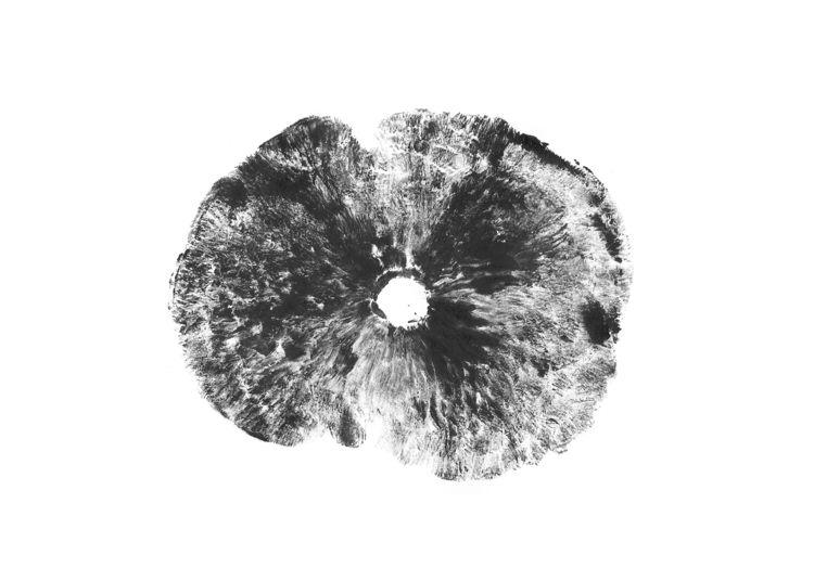 Mushroom Cap Monoprint undersid - mwarrenarts | ello
