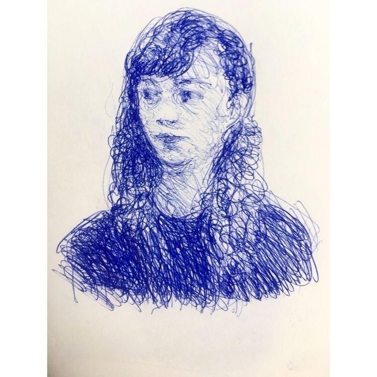 Pen sketch girl subway,  - pen, drawing - yuliavirko | ello