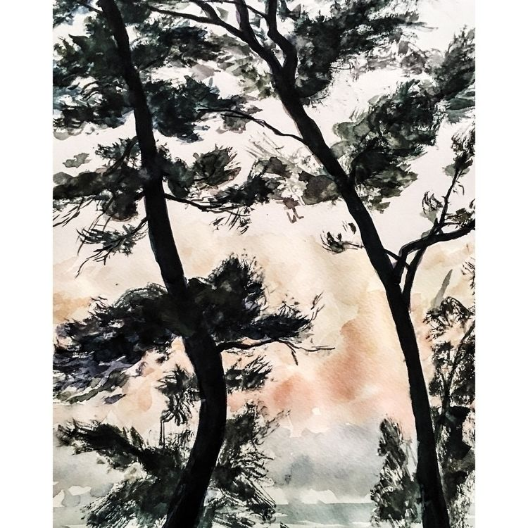 Sketch trees South India.  - watercolor - yuliavirko | ello