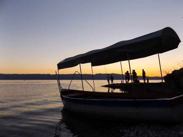 Sunset-colored Ohrid Lake, Mace - martinainwonderland   ello
