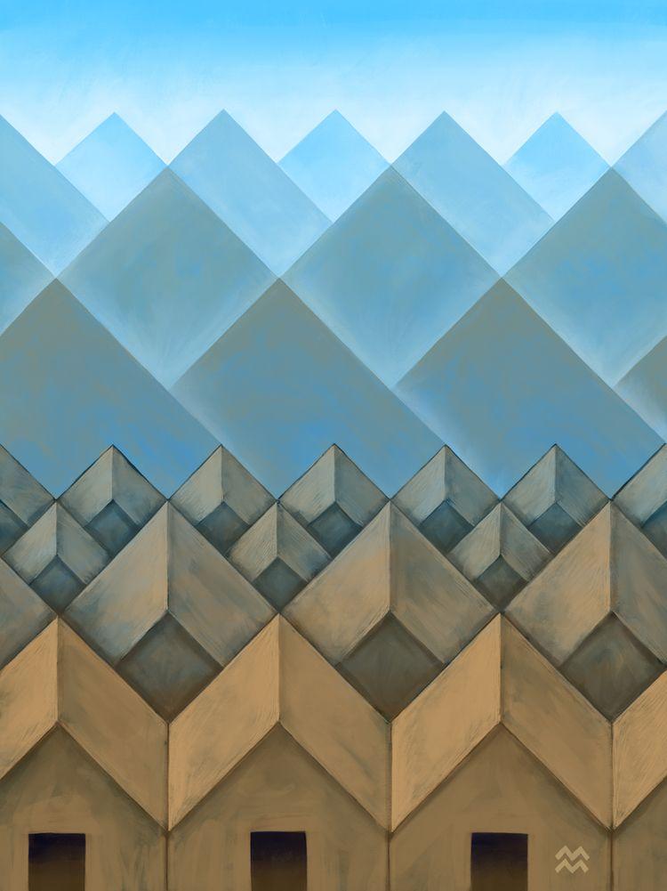 Blue Mountains | Brown Building - miriamdraws | ello