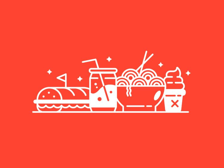 food, ramen, sandwich, soda, illustration - jordkane | ello