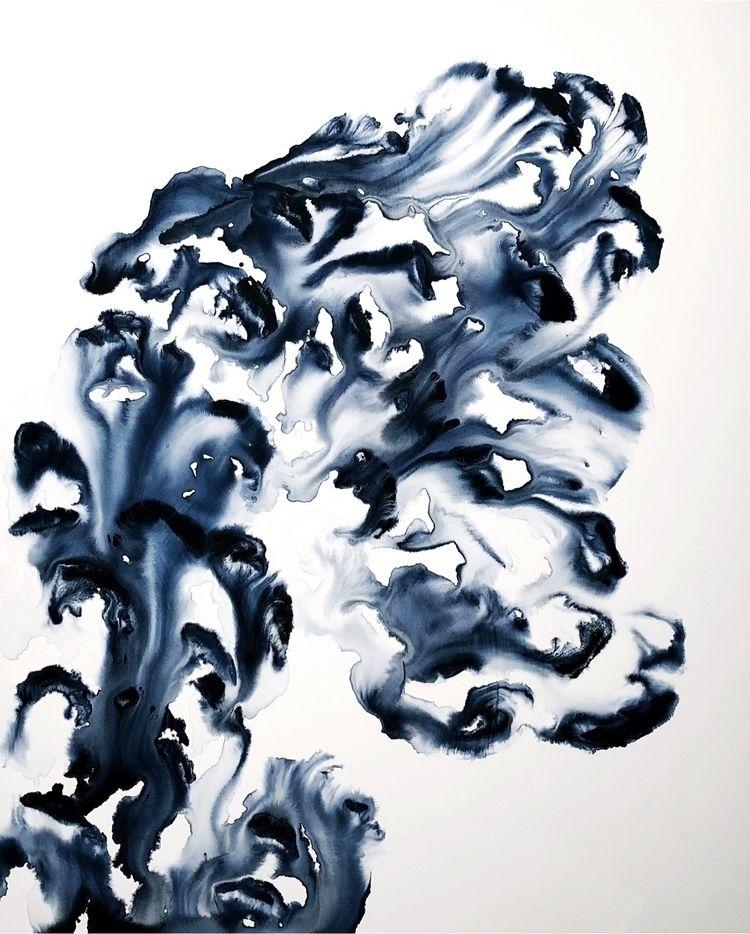 """Blue. 9."" // 48x60. Ink + acry - ebw_artwork | ello"