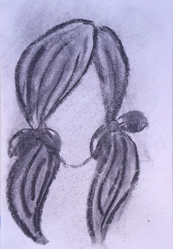 Girl Ponytails Charcoal paper 1 - scpfineart | ello
