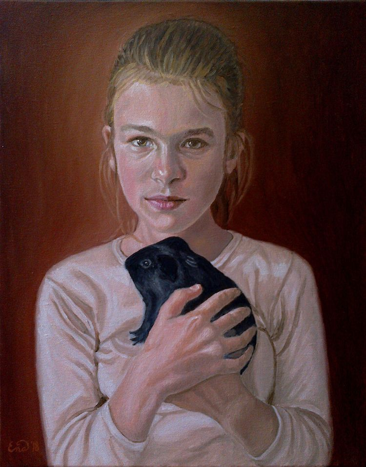 GIRL GUINEA PIG Oil canvas 40x5 - enavarsavikova | ello