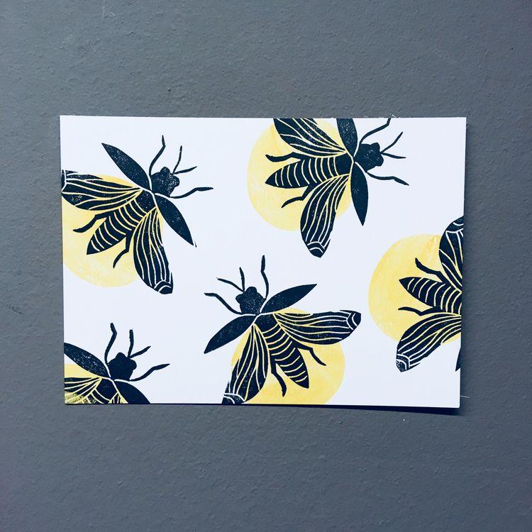 fireflies, lino, linocut, reliefprint - studiomalu | ello