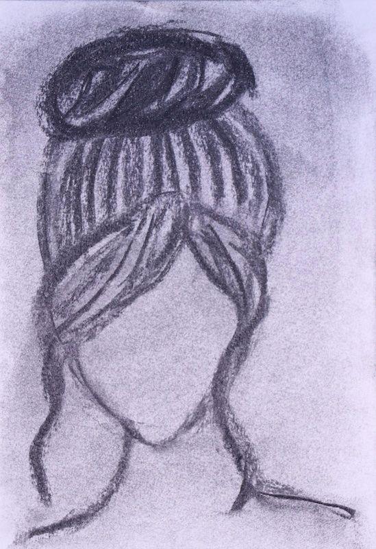 Girl Ballet Bun Charcoal paper  - scpfineart | ello