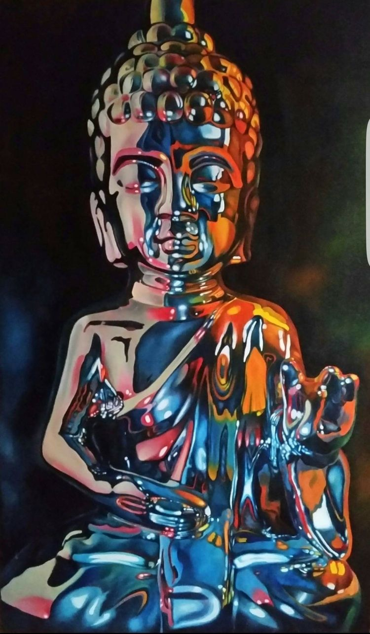 Blue Buddha.....oil canvas. 60  - scottieford | ello