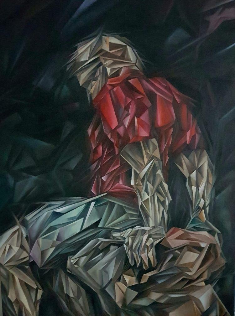 Red Shirt ...Oil canvas 36 24 - scottieford | ello